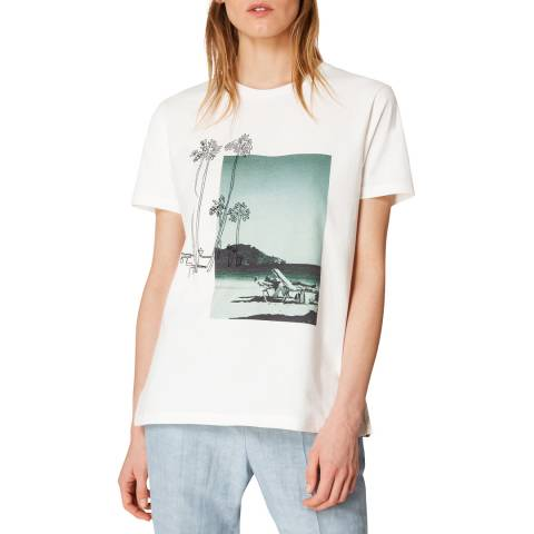 PAUL SMITH Ivory Printed Cotton T-Shirt