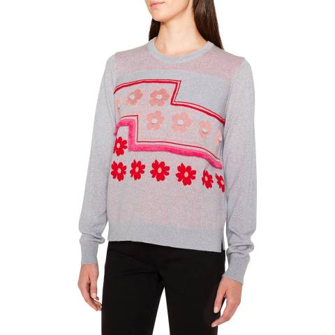 PAUL SMITH Grey Embroidered Wool Blend Jumper