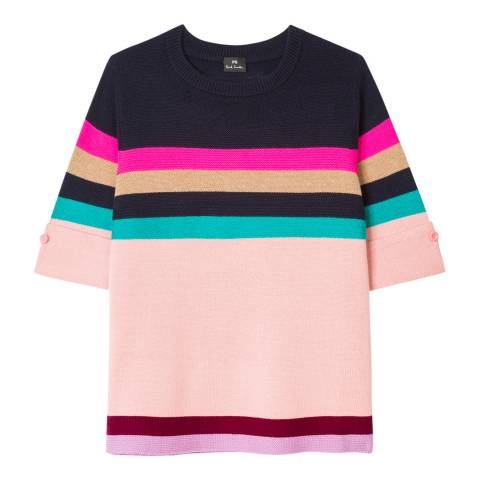 PAUL SMITH Pink/Multi Knit Wool/Cotton Top
