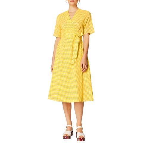 PAUL SMITH Yellow Check Wrap Cotton Dress