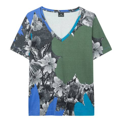 PAUL SMITH Blue/Multi Rainforest Cotton Stretch T-Shirt