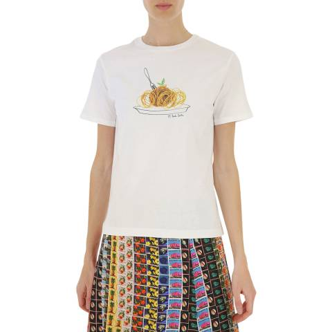 PAUL SMITH White Spaghetti Cotton T-Shirt