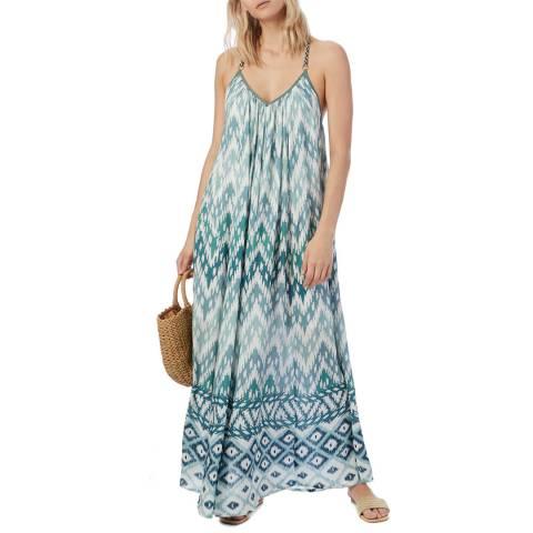 N°· Eleven Aqua Zig Zag Tile Print Dress