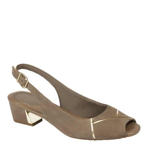 Scholl Dark Taupe Gloria Nubuck Heeled Sandals