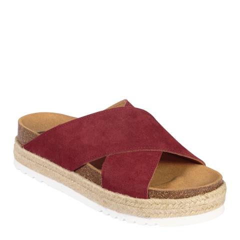 Scholl Ruby Red Suede Malindy Cross Sandals