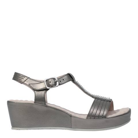 Scholl Pewter Metallic Leather Catelyn Platform Sandals