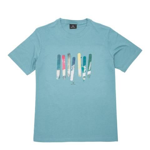 PAUL SMITH Blue Paint Print Regular T-Shirt
