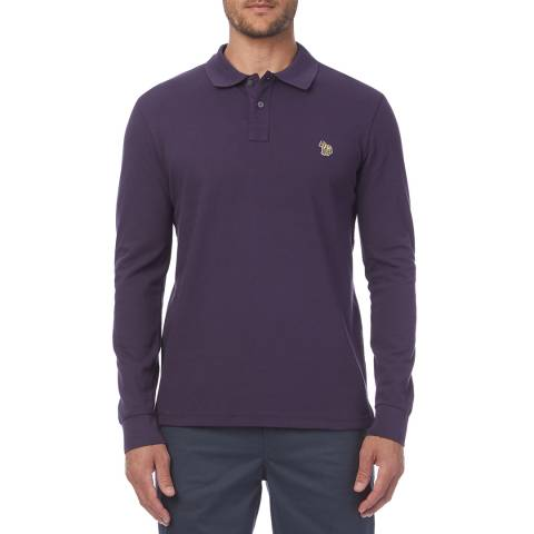 PAUL SMITH Mauve Zebra Regular Long Sleeves Polo Shirt