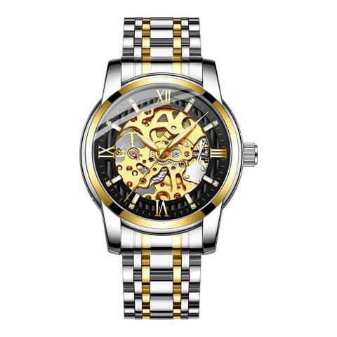Stephen Oliver 18K Gold Black Dial Automatic Skeleton Watch