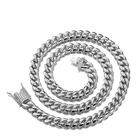 Stephen Oliver Silver Cable & CZ Clasp Necklace