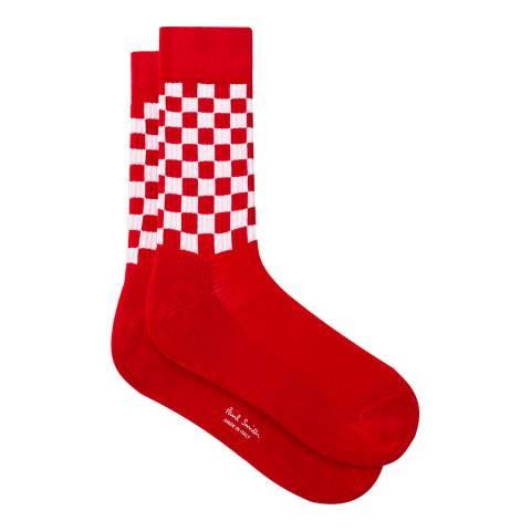 PAUL SMITH Red Check Ribbed Socks