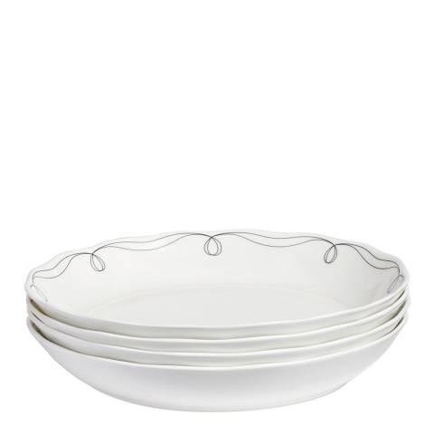 Soho Home Set of 4 Scalloped Pasta Bowls 25cm Decorated