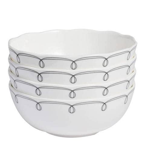 Soho Home Scalloped Soup/Cereal Bowls Decorated