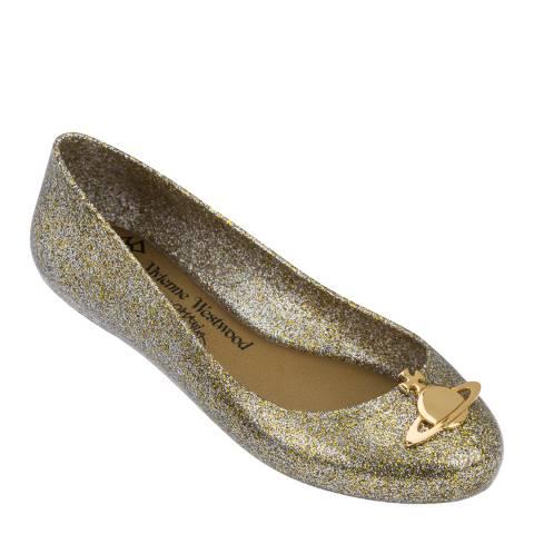 Vivienne Westwood for Melissa Gold Glitter Space Love 21 Orb Ballet Pumps