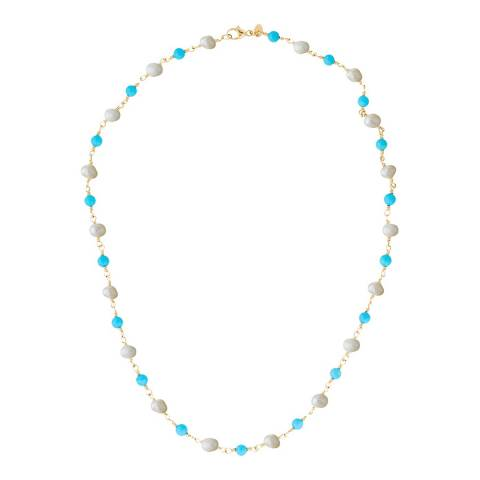 Liv Oliver 18K Gold Plated Turquoise Pearl Necklace