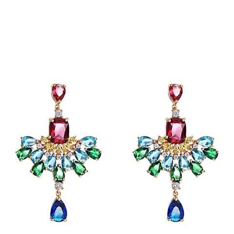 Liv Oliver 18K Gold Plated Multi Chandelier Earrings