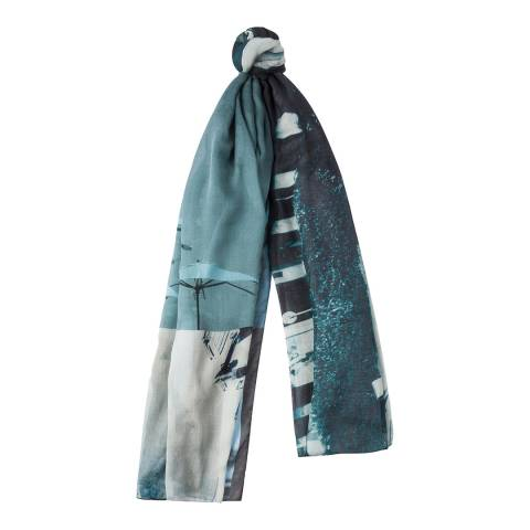 PAUL SMITH Turquoise Paul's Photo Scarf
