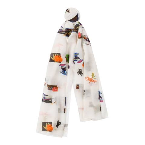 PAUL SMITH Off White Scrapbook Motif Scarf
