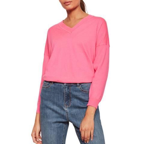 Mint Velvet Pink V-Neck Boxy Knit