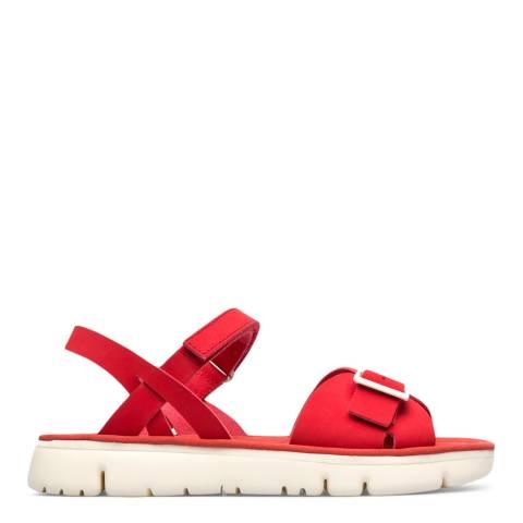 Camper Red Oruga Leather Sandals