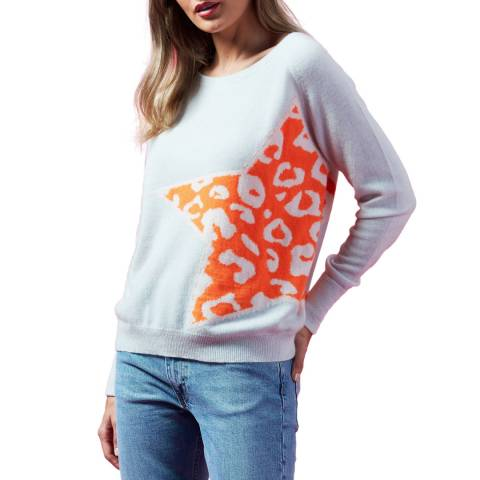 Scott & Scott London Grey/Orange Leopard Star Cashmere Jumper