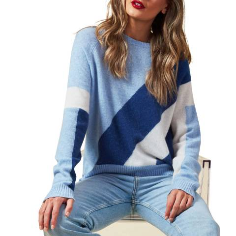 Scott & Scott London Blue/Multi Sadie Cashmere Jumper