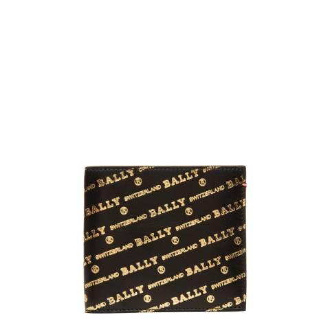 BALLY Black Gold Oblique Logo Wallet