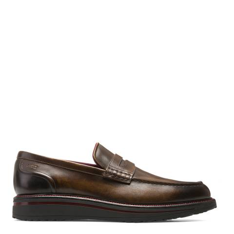 BALLY Brown Leather Bardony Penny Loafer