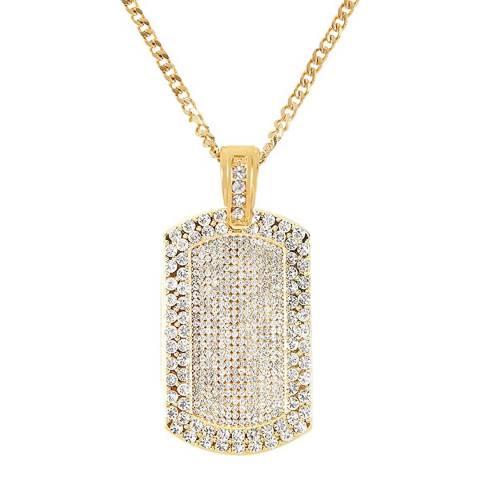 Stephen Oliver 18K Gold Plated CZ Tag Necklace
