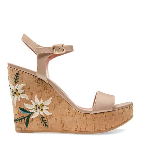 BALLY Beige Patent Leather Caelie Wedge Sandal