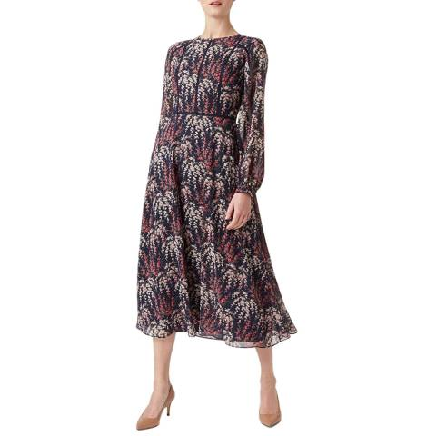 Hobbs London Navy Floral Eden Tea Dress