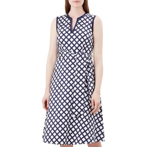 Hobbs London Navy/White Bettie Dress