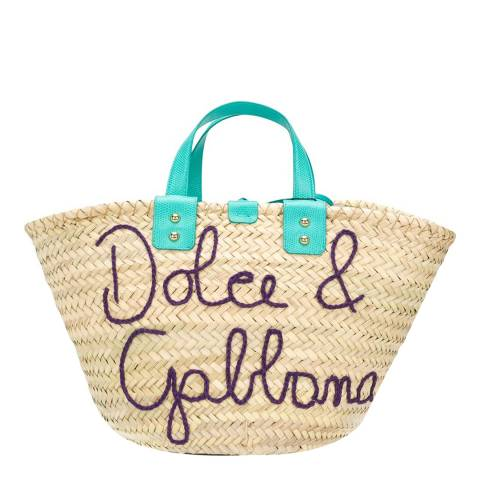 Dolce & Gabbana Turquoise Kendra Raffia Top Handle Bag