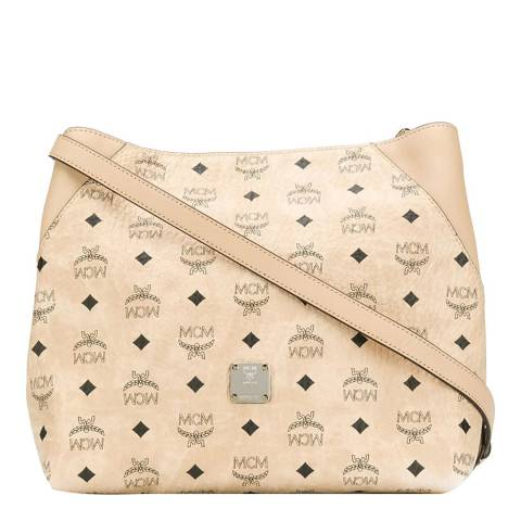 MCM Beige Medium Klara Leather Shoulder Bag