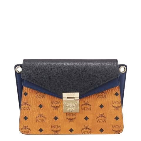 MCM Cognac/Navy Medium Mezzanin Leather Crossbody Bag