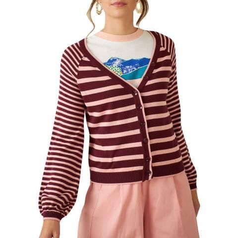 Emily and Fin Blush/Burgundy Barbary Stripe Cardigan