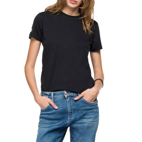 Replay Black Side Stripe Cotton T-Shirt