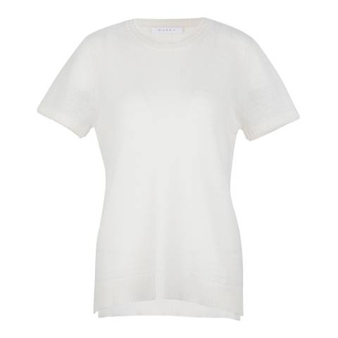 Duffy NY White Cashmere Double trim Tee