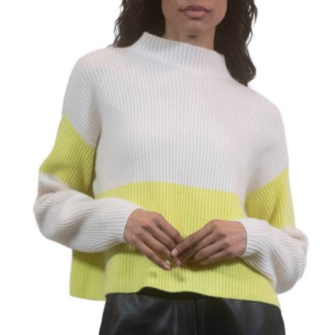 Duffy NY Chalk/Yellow Cashmere Jumper