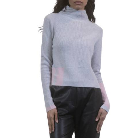 Duffy NY Heather Grey/Pink Cashmere Jumper