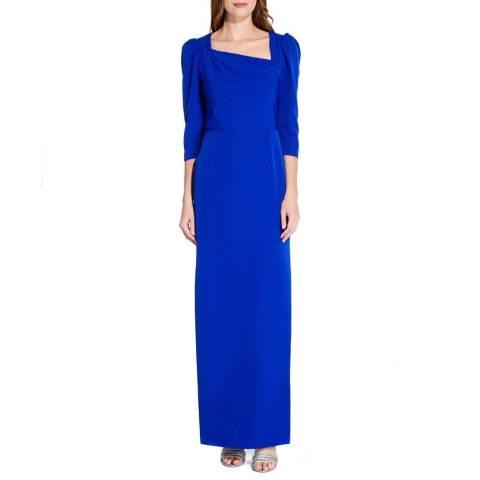 Adrianna Papell Royal Sapphire Asymmetrical Neckline Gown