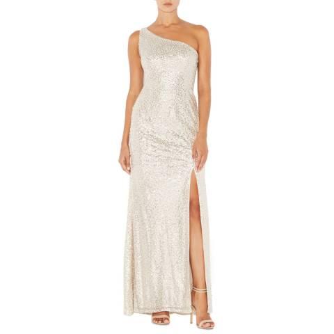 Adrianna Papell Nude Sequin Mermaid Dress