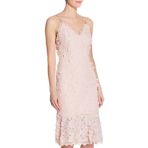 Aidan Mattox Blush Embroidered Lace Sheath Dress