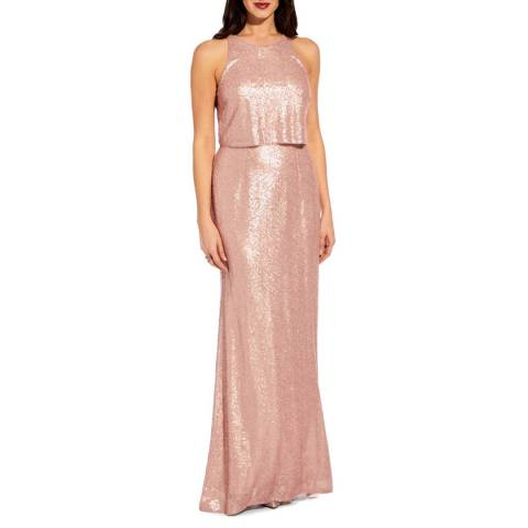 Adrianna Papell Blush Sequin Popover Dress
