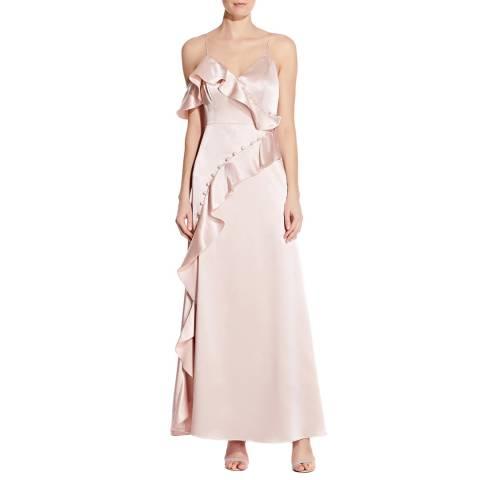 Aidan Mattox Blush Liquid Satin Flounce Dress