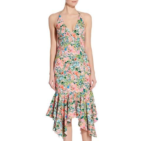 Aidan Mattox Coral Multi Printed Crepe Midi Dress