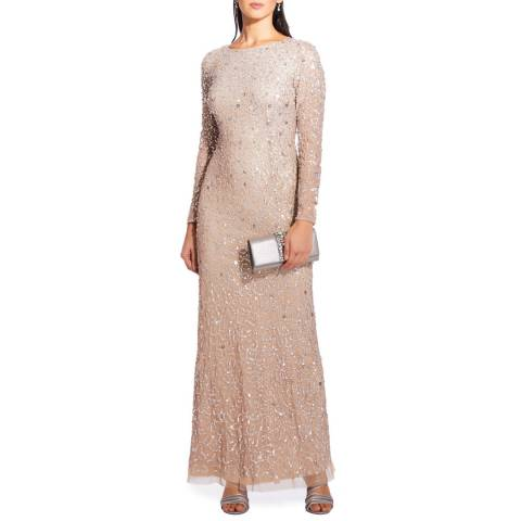 Adrianna Papell Champagne Beaded Long Dress