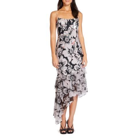 Adrianna Papell Blush/Black Bias Cut Floral Printed Dress