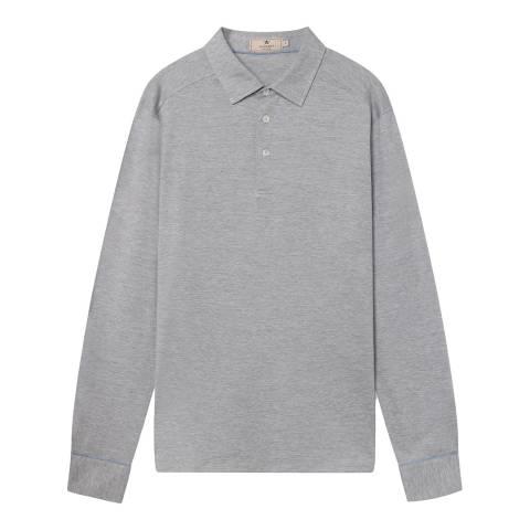 Hackett London Light Grey Mayfair Silk Blend Polo Shirt
