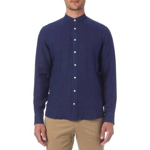Hackett London Navy Grandad Collar Linen Slim Shirt
